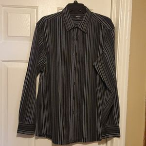 Claiborne black and white striped dress shirt